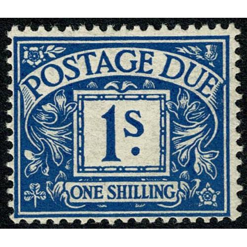 1914 1/- Bright Blue. WATERMARK SIDEWAYS INVERTED . SG D8Wi