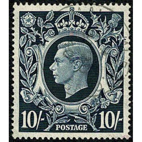 1939 10/- Dark Blue. Very Fine Used single. SG 478