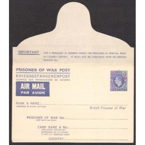 Prisoner of War Airmail. 2½d blue. Flap at top. APF2