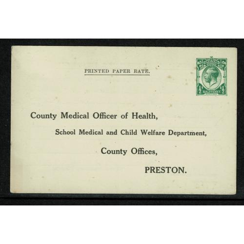 1920-26 STO Printed Matter for Preston Medical Officer H&B CS61