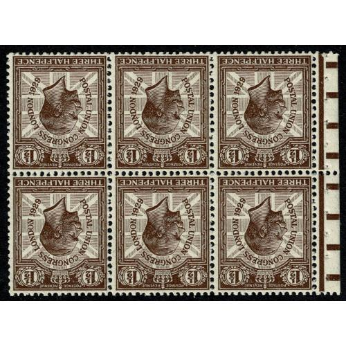 1929 PUC 1½d. Purple-brown, booklet pane Inverted Watermark. Spec NComB3a